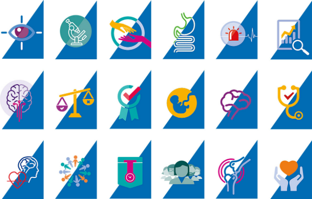 The icon based illustrations we designed for BMJ for each of their journals
