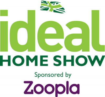 Logo for the ideal home show sponsored by Zoopla