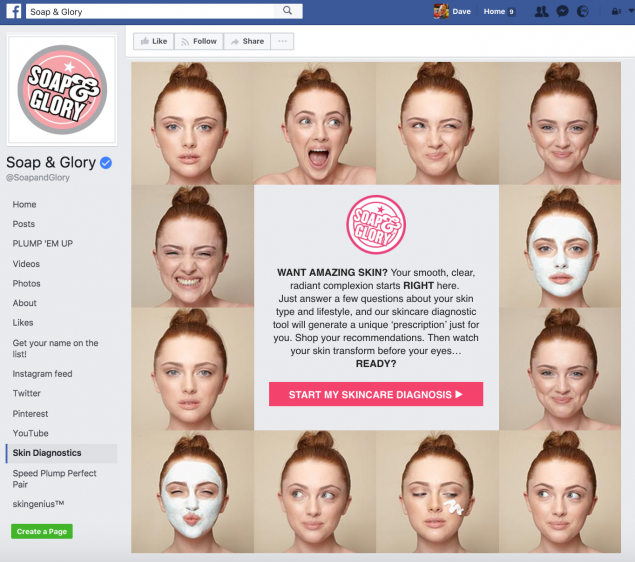 "Landing page for Soap and Glory skin diagnostics tool. The chatbot we created for Soap and Glory asks users a few basic questions about their skin type and lifestyle and then generates a unique ""prescription"" for them."