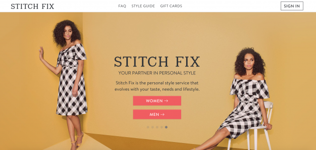 The front page of stitch fix, a personal styling service that allows you to keep what you want and send the rest back.