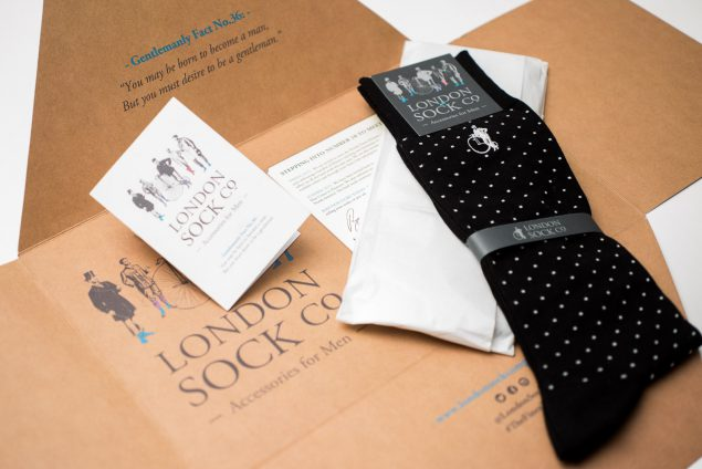 Image of a pair of socks and the packaging from the London Sock Company