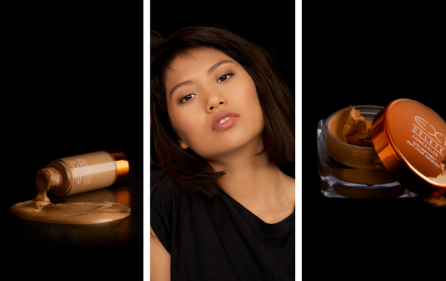 An image showing two EX1 products that were created for yellow skin undertones, with a model in the middle wearing EX1 foundation.