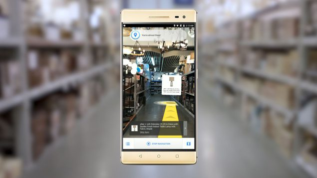 An image of a phone showing the potential for augmented reality for the future. It might be possible to walk into a store and see information aboutn products in augmented reality just by holding your phone up. It could help you find the product you want on an aisle in a supermarket or promotional material could appear around a new product.