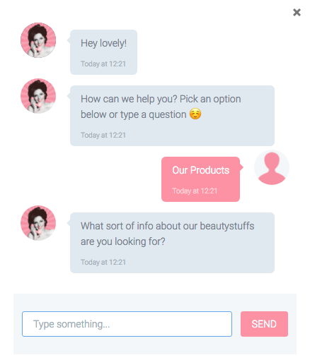 The Soap and Glory chatbot begins by greeting the user by name, and asking what they are looking for.