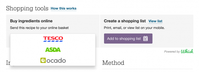 Goodfood website has an option to add the ingredients from the recipes to a shopping cart with one of the big supermarkets, for which they receive a portion of the profit