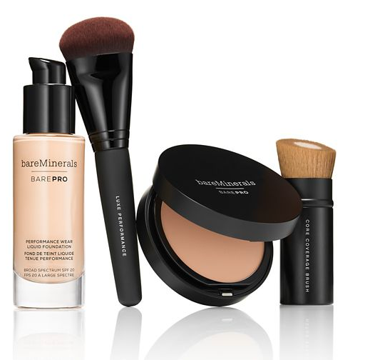 Four of bareMinerals products in a line, including the new foundation, BarePro