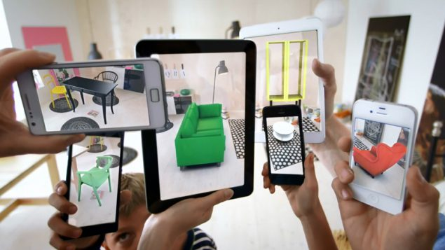 An image of screens showing what a room could look like using AR in the future