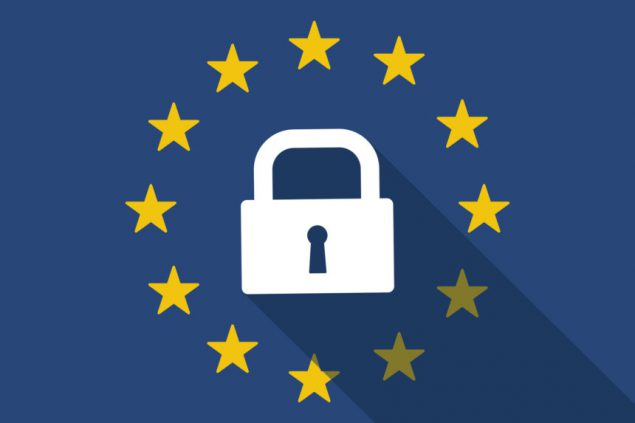 Illustration of an European Union long shadow flag with a lock pad, symbolising the upcoming GDPR legislation