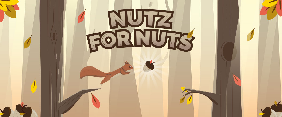 A graphic image showing an animated squirrel jumping, under the caption Nutz For Nuts