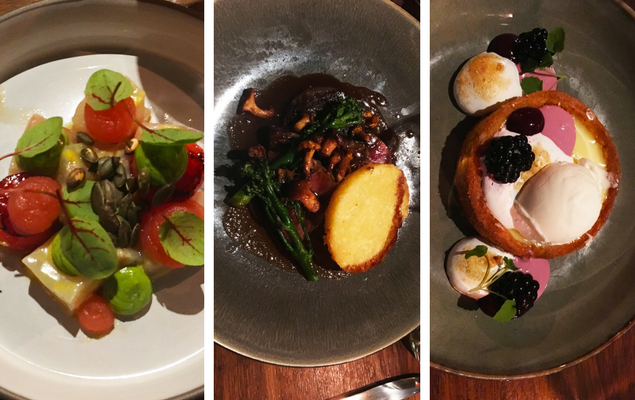 The food at the Lobby Nesplain. The first picture is Corvina Fillet with watermelon, avocado cream and pumpkin seeds. The second is Sirloin and beef cheek with chanterelle. The dessert is a lemon meringue tart.