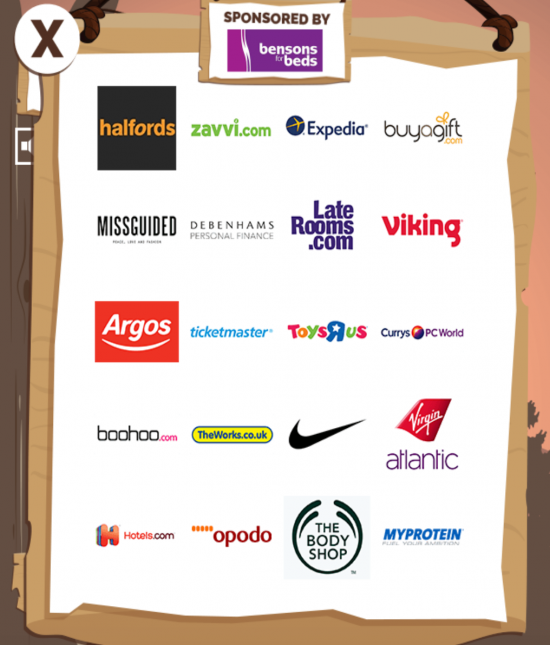 A screen shot from Quidcos Nutz For Nuts digital game showing the list of sponsors