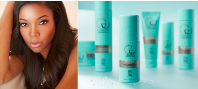Image of Gabrielle Union on the left and some of the Flawless hair products on the right.