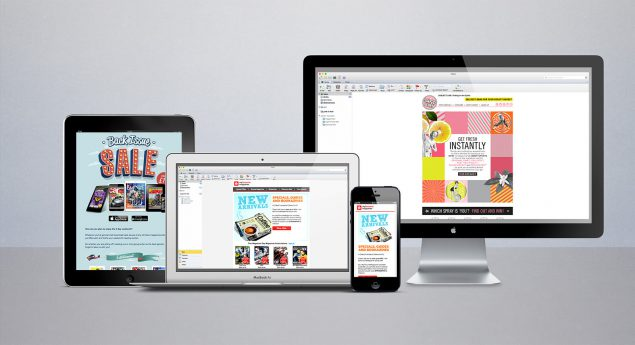 An iPad, a laptop, a mobile and a desktop screen, each showing a different email campaign by the creative agency Ready