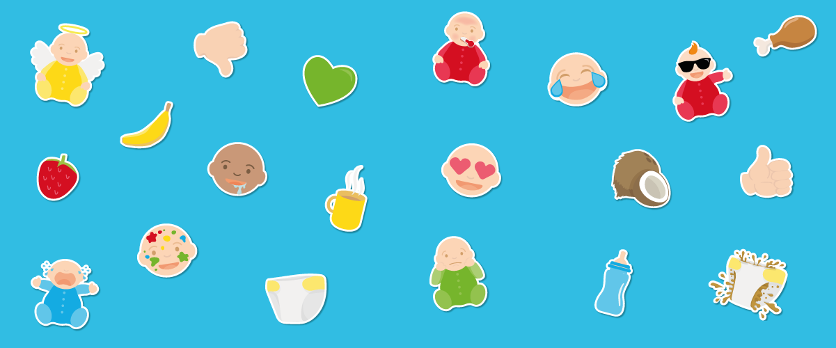 A graphic image showing a set of parenting-related emojis