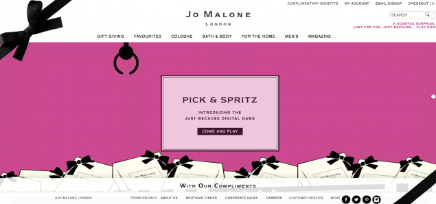 one of the digital games featured on the jo malone website