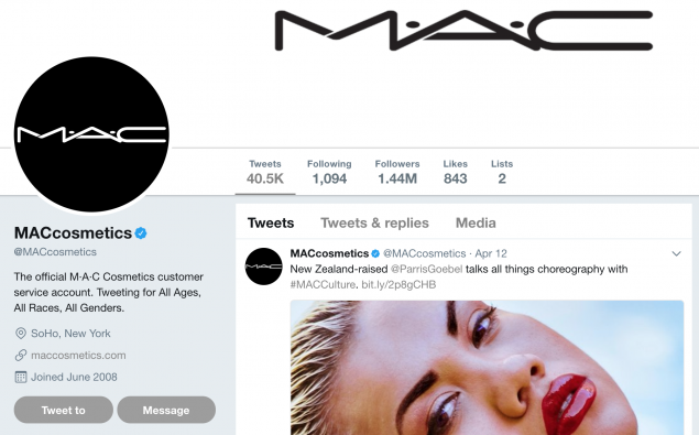 The Twitter page of MAC Cosmetics