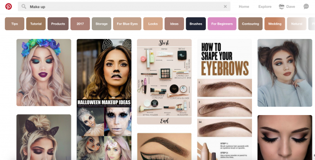 The Makeup page on Pinterest