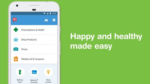 A mobile phone with the Walgreens app open, alongside the words happy and healthy made easy