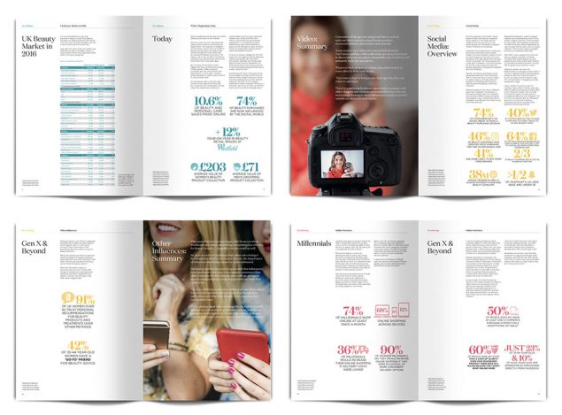 Four booklets open on different pages, each one showing a different set of infographics from Ready's 2017 report on the beauty sector