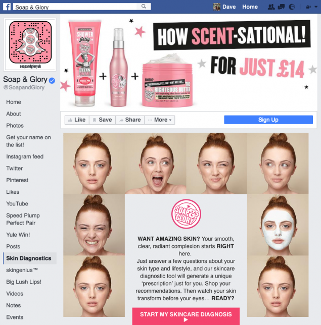 soap and glory's skin diagnostic tool can also be used for fragrance marketing