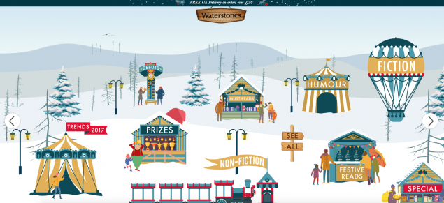 The Waterstones Christmas village uses a fun festive layout to help users navigate product ranges