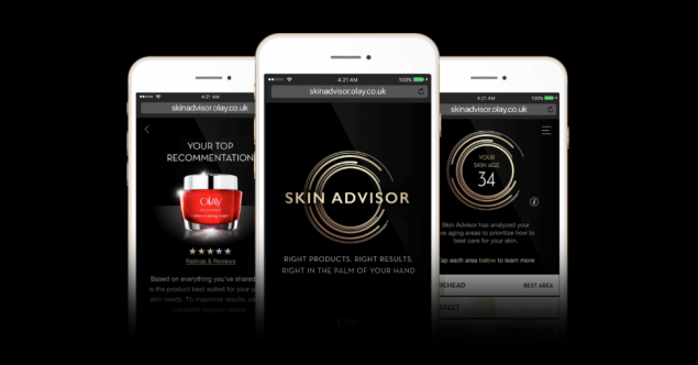 Screenshots of the Olay Skin advisor which analyses user's skin on mobile and recommends products.