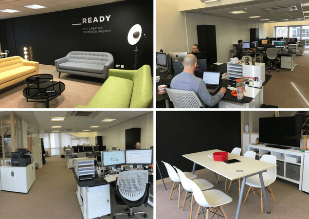 montage of the new ready office in bath