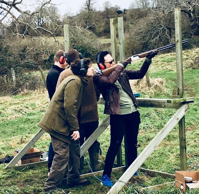 Clay pigeon shooting at Ready's Christmas party