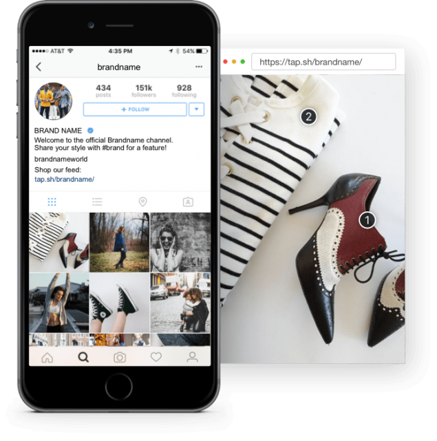 Olapic Tapshop on mobile helps users navigate product ranges by shopping the look from a brand's Instagram feed