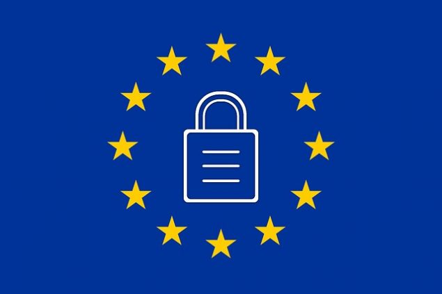 the eu flag with a padlock in the middle