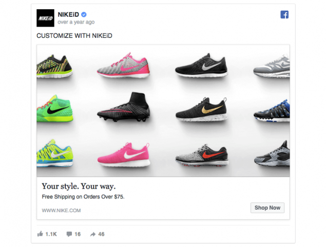Facebook ad for shoes for new mum