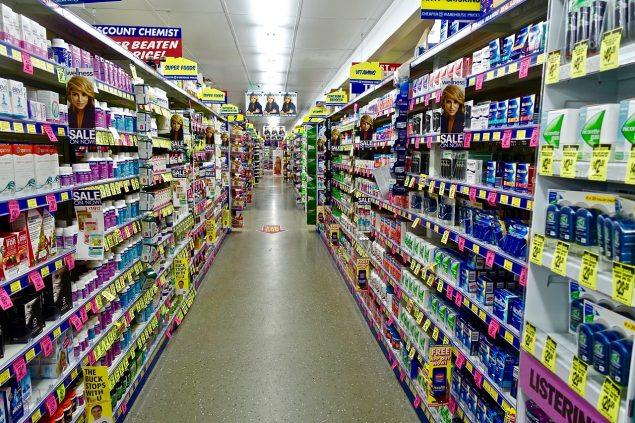 Own-label supermarket brands on shelves