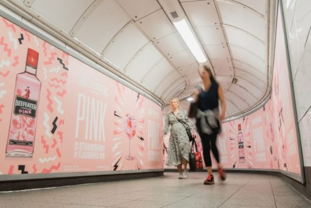 Beefeater Strawberry poster in oxford circus tube
