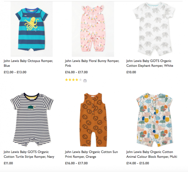 John Lewis gender neutral baby clothes