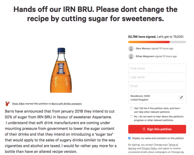 Petition to stop sugar cut in Irn-Bru
