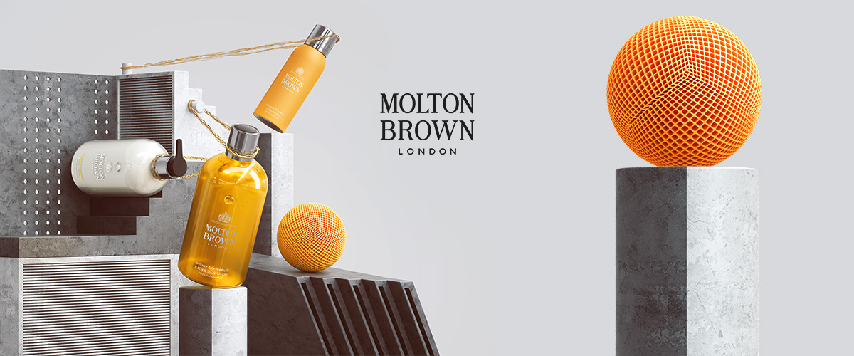 Promotional launch campaign for personal care brand Molton Brown