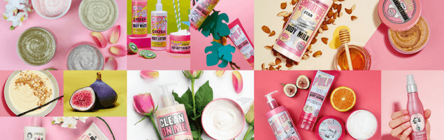 montage of pink beauty products