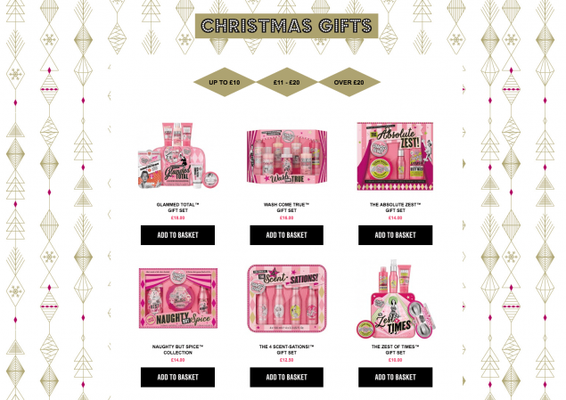 A product catalogue for Soap and Glory's Christmas website