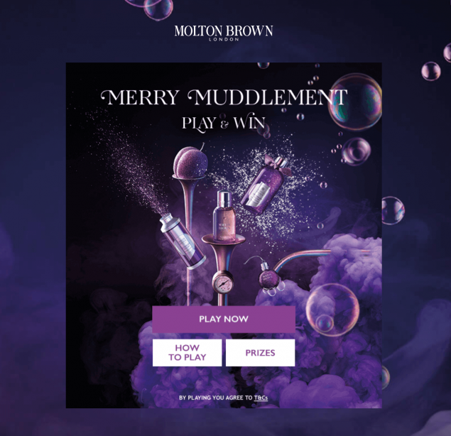A screenshot from a Molton Brown digital game for Christmas 2019