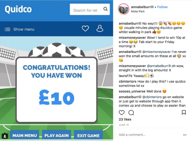 An instagram post from someone ecstatic about winning a few quid