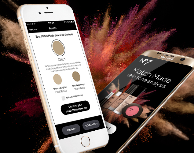 The No7 Matchmade App we built for Boots No7. The app helps users find their perfect tone of foundation.