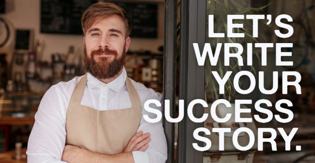 Ohio Restaurant Associations advert for membership with the text, Let's Write Your Success Story with a bearded man in a chef's apron