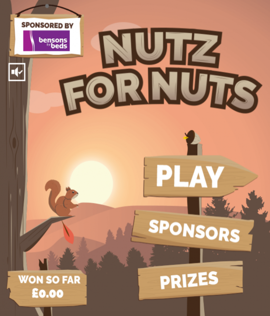 The home screen of Quidco's Nutz For Nuts digital game