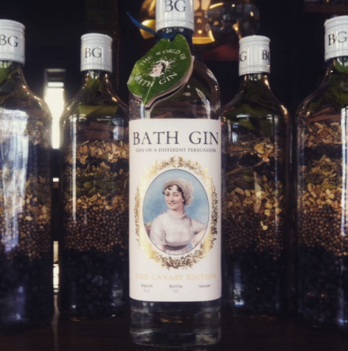 A bottle of BAth Gin with Jane Austen on the front, winking