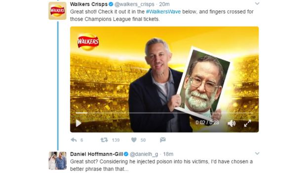Walker's Crisps should have learned about moderation already, but they still launched a campaign in 2017 that was hijacked by people uploading pictures of serial killers to their 'Walkers Wave'.