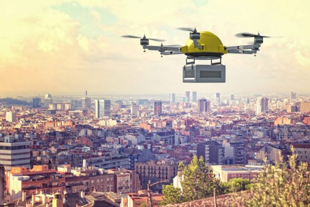 a drone flying over a city