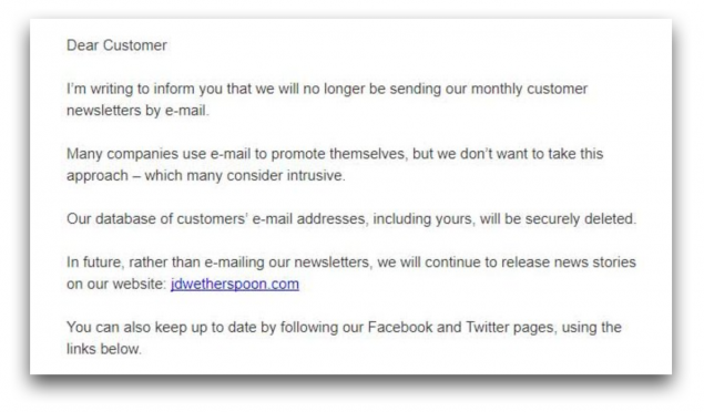 An email from Wetherspoons telling customers it would no longer be holding their data
