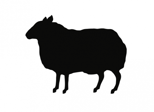 A silhouette of a black sheep