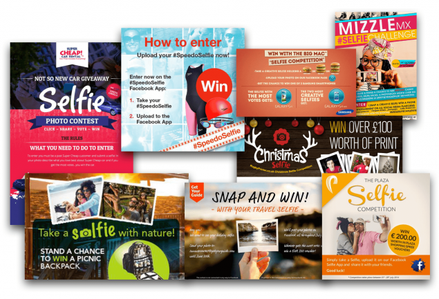 Montage of selfie competition promotional campaigns