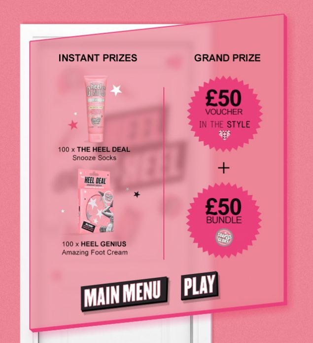 Soap and Glory prize page